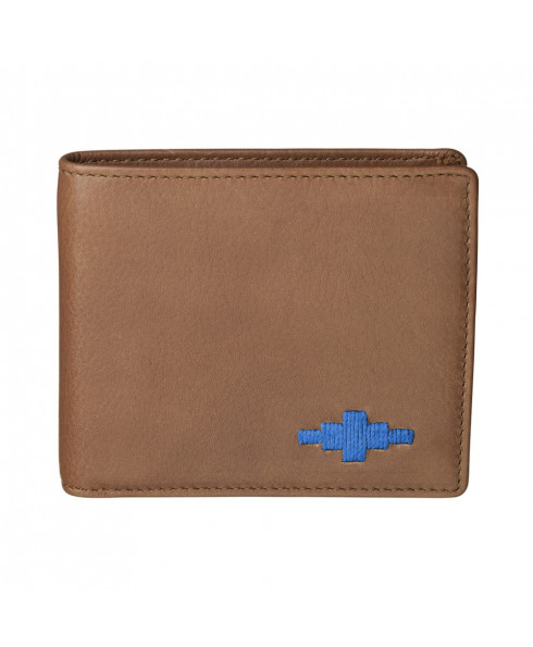 Pampeano 100% Leather Dinero Men's Card Wallet – Tan with Blue Diamond