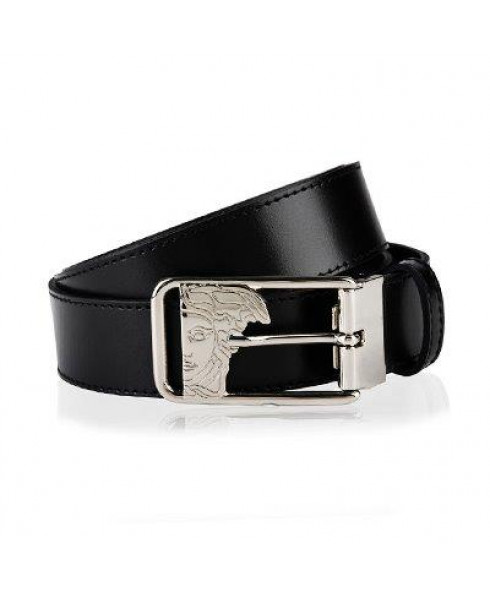 Versace Collection Men's Belt with Medusa Head Buckle - Smooth Leather - Black