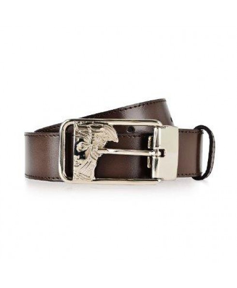 Versace Collection Men's Belt with Medusa Head Buckle - Smooth Leather - Dark Brown