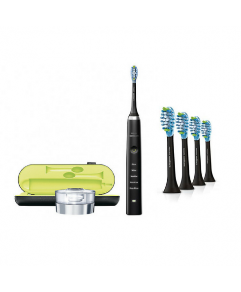 Philips Sonicare DiamondClean Deep Clean Toothbrush - Black & 4 Head Black Pack HX9044/27