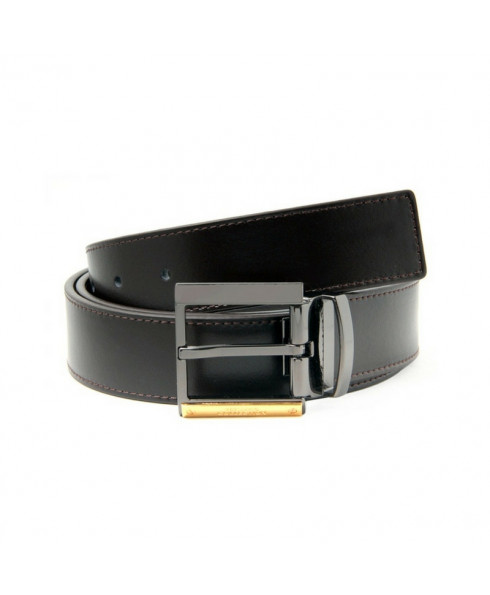 Versace Mens Leather Belt with Gold Detail - Black
