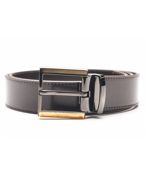 Versace Collection Men's Cintura Testa Di Moro Leather Belt with Gold Highlight
