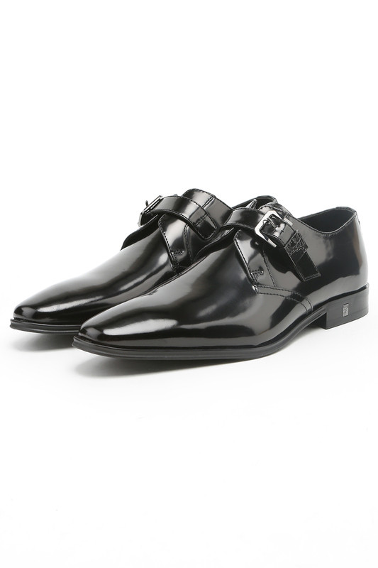 bf84c0d5118 Versace Spazzolato Leather Buckle Dress Shoes in Black