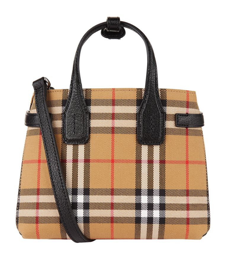 Burberry The Baby Banner Bag In Leather With Vintage Check Pattern Unineed