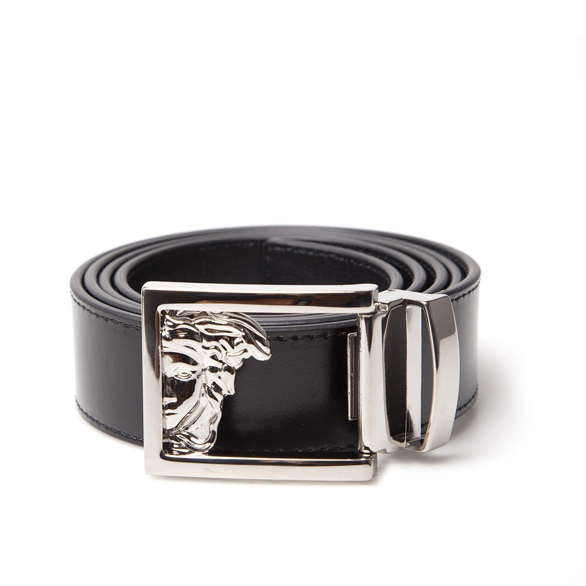 Versace Half Medusa Mens Belt Black