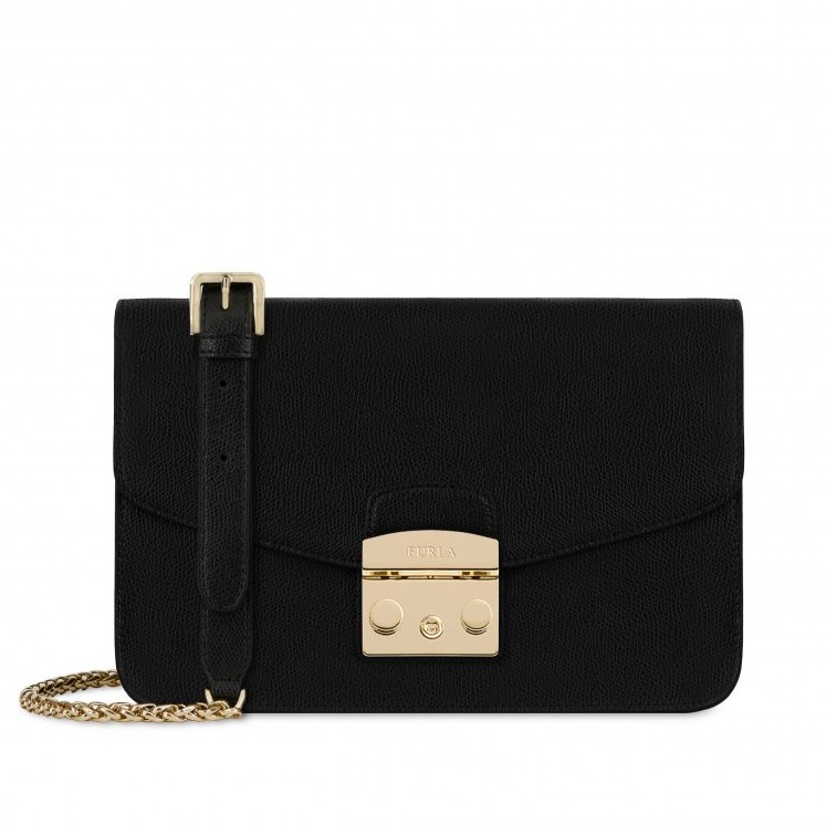 2014ab02515e Onyx Black Metropolis Small Shoulder Bag by Furla