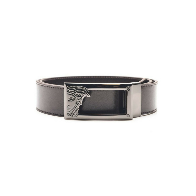 4d685b54 Versace Mens Leather Belt with Medusa Buckle - Brown