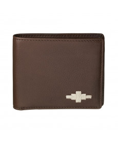Pampeano 100% Leather Men Moneda Coin Wallet – Brown with Cream Diamond