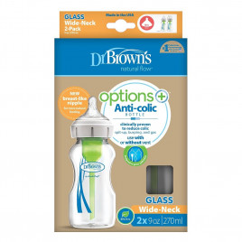 Dr Brown - Options+ Glass Bottle 270ml (2 Pack)
