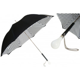 Pasotti Women Black and White Polka Dots Umbrella, Double Cloth
