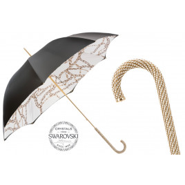 Pasotti - Luxury Black Umbrella with Chains and Printed Interior