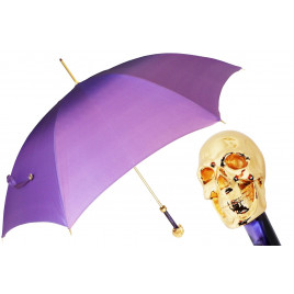 Pasotti Luxury Women Golden Skull Purple Ombre Umbrella