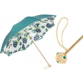 Pasotti Luxury Dark Green Floral Umbrella, Double Cloth