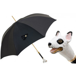 Pasotti - Luxury Black Umbrella with Bull Terrier Handle.