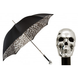 Pasotti - Luxury Black and White, Animalier Umbrella with Silver Skull Handle