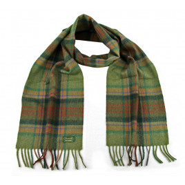 Glencroft - 100% Cashmere Plaid, Green and Red Scarve