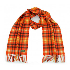 Glencroft - 100% Cashmere Plaid Scarf in Rustic Orange, Black and Yellow