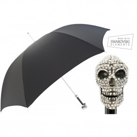 Pasotti Men Luxury Swarovski Skull Handle Umbrella Black