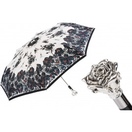 Pasotti - Luxury Silver Rose Folding Umbrella