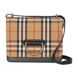Burberry The Small D-Ring Bag in Leather with Vintage Check Pattern