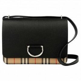 Burberry The D-Ring Medium Bag in Leather with Vintage Check Motif