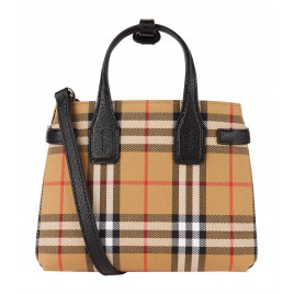 Burberry The Small Banner Bag in Leather with Vintage Check Pattern