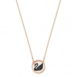 Swarovski Hall Swan Pendant, Grey, Rose Gold Plating