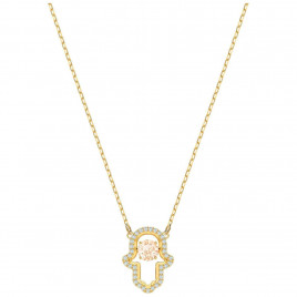 Swarovski Luckily Hamsa Hand Necklace, Multi-Coloured, Gold Plating
