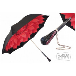 Pasotti Red Dahlia Umbrella With Black Exterior, Double Cloth