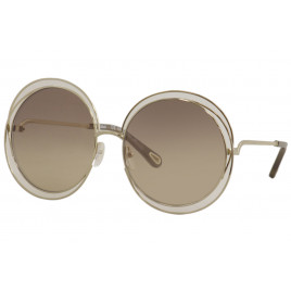 Chloé CE114SD Carlina Gold Transparent Brown Flash Sunglasses For Women