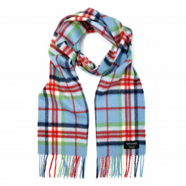 Gretna Green Cashmere Scarf in Blue & Red Check