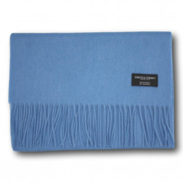 Gretna Green Wide Cashmere Scarf in Cambridge Blue