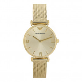 Emporio Armani Ladies Gold Plated Mesh Strap Watch AR1957