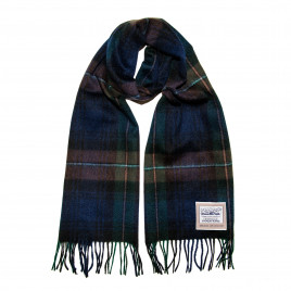Heritage Traditions - 100% Wool Double Face Tartan Brushed Wool Scarf - Midnight Check
