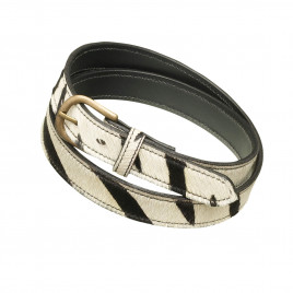 Pampeano Skinny Zebra Print Leather Belt