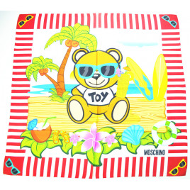 Moschino Toy Bear Island Silk Scarf - Red