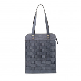 Eduards - Näver Big Leather Shoulder Bag in Oily Navy