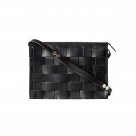 Eduards - Näver Small Leather Shoulder Bag in Black