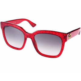 Gucci - GG0034S-006 Red Glitter Women's Sunglasses