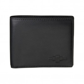 Pampeano 100% Leather Moneda Coin Men's Wallet – Black with Black Diamond