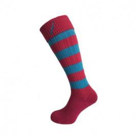 Hortons Ladies Long Sock Pink & Turquoise Stripe