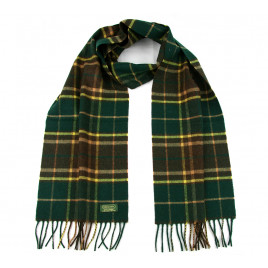Glencroft 100% Premium Cashmere Scarf - Green, Yellow and Brown Check