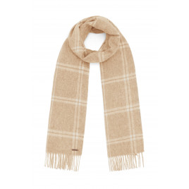 Hortons England - 100% Lambswool Checked Scarf - Sand