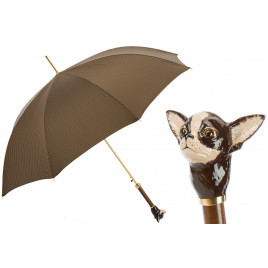 Pasotti Brown Check Luxury Umbrella with Chihuahua Handle
