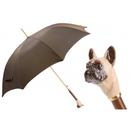 Pasotti Brown Luxury Umbrella with French Bulldog Handle