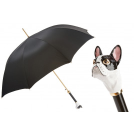 Pasotti Black Luxury Umbrella with French Bulldog Handle