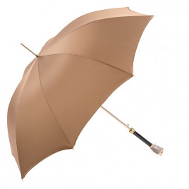 Pasotti Beige Luxury Umbrella with Owl Handle