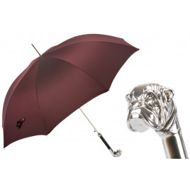 Pasotti Oxblood Luxury Umbrella with Silver Bulldog Handle