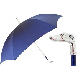 Pasotti Royal Blue Luxury Umbrella with Silver Greyhound Handle