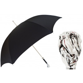 Pasotti Black Luxury Umbrella with Silver Mastiff Handle